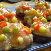 茄汁五彩香菇酿