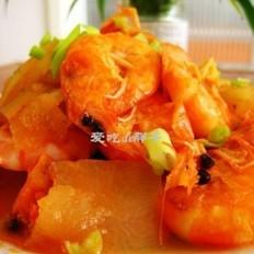 软壳虾炒冬瓜