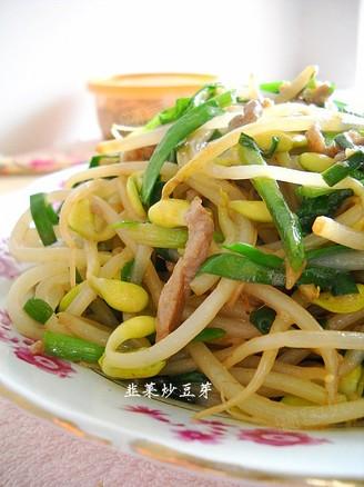 韭菜炒豆芽的做法