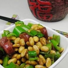 腊肠炒黄豆