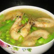 白条虾丝瓜毛豆汤