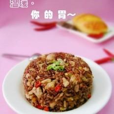 南瓜鸡肉红米饭