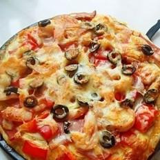 彩椒橄榄海鲜披萨