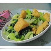 青菜炒油豆腐