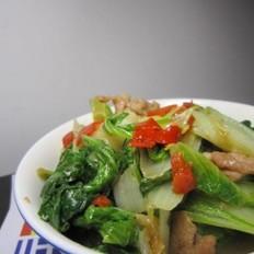 剁椒葱香小白菜炒肉片