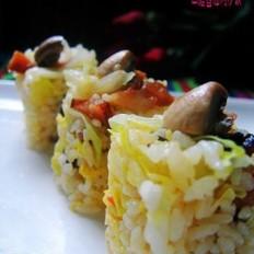 口蘑卷心菜炒饭