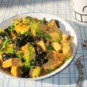 香菜梗炒豆腐