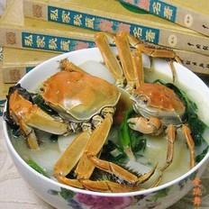 河蟹菠菜煮年糕
