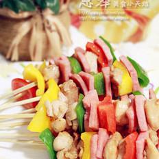 彩椒鸡肉火腿串