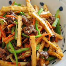 干锅牛肉炒油豆腐