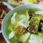 荠菜蛋饼豆腐汤