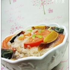 番茄皮蛋粉丝汤