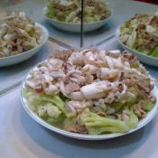 鲜鱿猪肉炒菜花