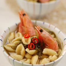 北极甜虾酸菜杂粮猫耳面