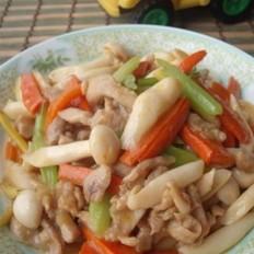 海鲜菇炒鸡柳