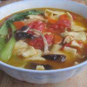 油菜香菇西红柿面片汤
