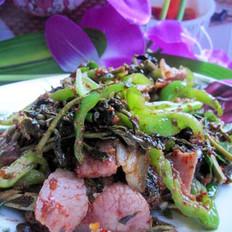 腊肉豆豉炒香椿