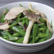 刀豆蘑菇炒肉片