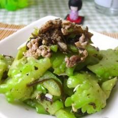 橄榄菜肉末炒苦瓜