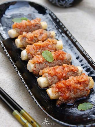 泡菜年糕牛肉卷的做法