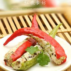 鸡肉酿青红椒