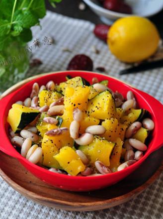 南瓜花豆沙拉的做法