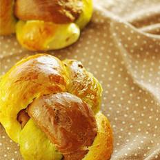 三色辫子面包