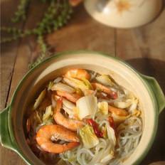 白菜粉条鲜虾煲