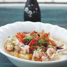 沸腾水煮豆花虾