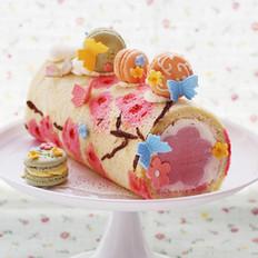 桃花手绘蛋糕卷