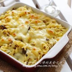奶酪焗咖喱意面
