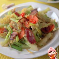 双拼腊味炒菜花