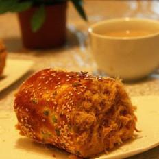 香葱肉松面包卷