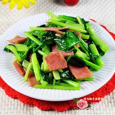 火腿炒白菜苔