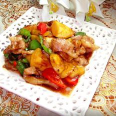 菠萝香炒猪颈肉