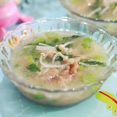 金针菇青菜肉粉汤