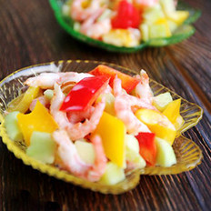 桃香虾仁沙拉的做法