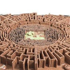 英艺术家制作巧克力迷宫