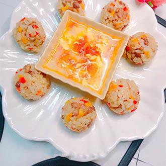 彩色肉沫饭团