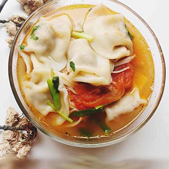 番茄菌菇汤饺